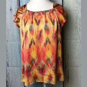Ann Taylor Fiery Red Orange Print Blouse (D)